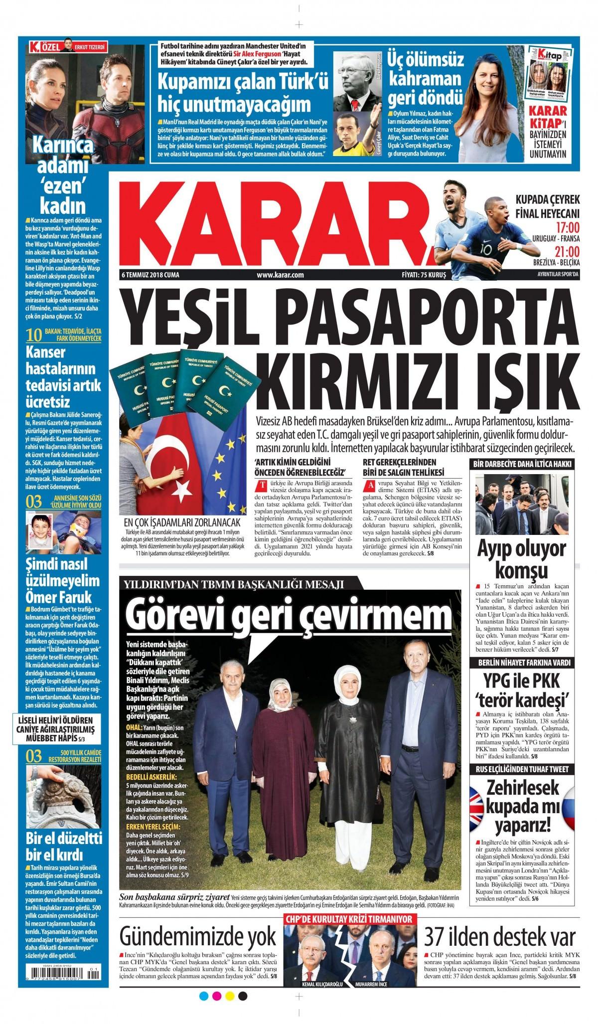 Karar Gazetesi İlk Sayfası
